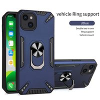 2 in 1 Metal Ring Phone Cases For iPhone 13 12 11 Pro Max XS XR 8 7 6S Plus PC+TPU Hybrid Armor Kickstand Shockproof Case Silicone Cover