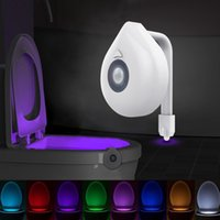 Novelty LED Toilet Seat Night Lightings Motion Sensor WC Lights 8 Colors Changeable Lamp AAA Battery Powered Backlight for Bowl Child