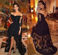 2021 Myriam Fares Black Prom Dresses Formal Long Sleeves Evening Gowns Hi Lo Skirt Off The Shoulder V Back Open Duabai Lace Gowns
