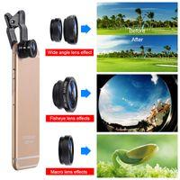 Universal 3 in 1 GRANDE ANGOLO A GRANDE PESCEYE Obiettivo per telecamere per cellulari Lenti per cellulari Lentes per iPhone 6 7 Microscopio smartphone