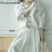Kadın Ceketler Kuzuwata Down Yaka Uzun Kollu Tek Meme Ceket Kadın Çalışma Stil OL Ince Ceket Femme Bahar 2021 Giysi Katı