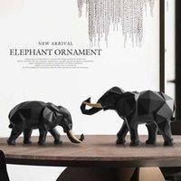Estatuilla de elefante 2 / set resina para la oficina del hotel Decoración del hotel Decoración de la mesa Moderna artesanía India India de la estatua de elefante blanco Q0525