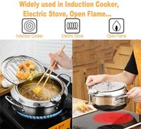Japanese Fryer Pan Deep Frying Pot with Thermometer and a Lid 304 Stainless Steel Kitchen Tempura Cookware