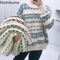 Women's Sweaters Nomikuma Argyle Pattern Women Korean Fashion O Neck Long Sleeve Pullovers Loose Casual Oversized Tops Pull Femme 3c700