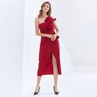 Elbiseler TwotWinstyl Parti Kadınlar Için Straplez Kolsuz Kapalı Shouder Yüksek Bel Çapraz Dantelli Bölünmüş Bodycon ES Bayan 2021