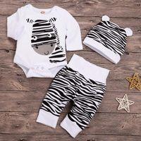 Born Infant Baby Set Cartoon Zebra Print Tops Pants Hat Outfits Boys Girls Summer Jumpsuit Romper Cotton Children Pajamas Clothing Sets