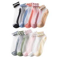 Party Human Женщины жемчужина прозрачные стеклянные шелковые женские носки тонкие хлопчатобумажные сексуальные кружевные сетки рыболовные эластичные лодыжки