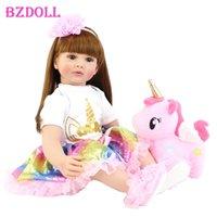 Bzdoll 60 cm Lifeelike Reborn Bambola di Toddler Doll 24inch Alive Princess Baby with Unicorn Ploth Body Realistico Bebe Girl Regalo di compleanno 210923