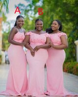 Aso Ebi Two Difference Neckline Bridesmaid Dresses Plus Size Wedding Party Gowns Applique Zipper Back Mermaid Prom Robe De Marrige