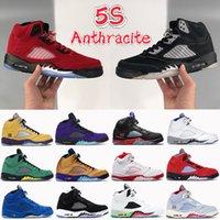 2021 5 5S الرجال أحذية كرة السلة أنثراسايت مستعرة حمراء ما هو أعلى 3 الشبح الأبيض البديل العنب أسود لامع أحذية رجالي