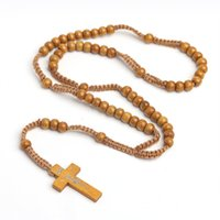 Perle di legno naturale Perle cristiana Collana Collana a mano Collana trasversale Gesù Gioielli religiosi