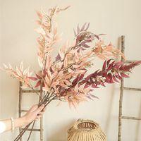 Bambou feuille longue branche artificielle fleurs de soie fleurs appartement décorer une ferme de mariée décoration fausse plantes saule saule décorative wre
