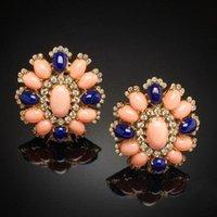 Wunderschöne Blume Kristall Coral Color Stein Ohrring Studs Charms Zubehör Dunkelblau Ornament Weibliche Große Ohrringe Z5x569 Bolzen