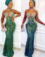 2021 Plus Size Arabic Aso Ebi Lace Mermaid Sexy Prom Dresses Beaded Crystals Sheer Neck Evening Formal Party Second Reception Gowns Dress ZJ335