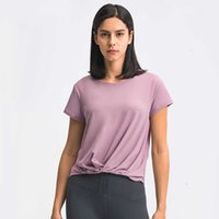 T-shirt Women's Yoga Fashion Versatile Front Hem Pleated Sports Tops Loose Fitness Body Running Casual Gym Clothes Suit_sell