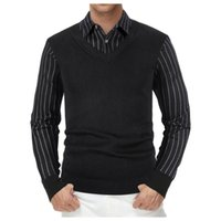 Men's Sweaters Autumn And Winter Warm Sweater Long Sleeves Turndown Collar Business Casual Fake Two-piece Shirt Vest D925#