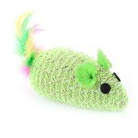 Cat Toys 1PCS Random Color Mouse Toy Plastic Faux Feather Decor Interactive Bite Chase Dorakitten