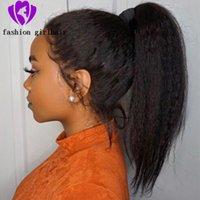 Envío rápido 360 Cordón frontal rizado peluca recta natural pelo sintético pelucas frontales de cordones yaki peluca de encaje 150 densidad para mujeres negras