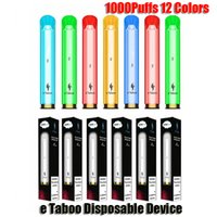 정통 E-Taboo 일회용 전자 담배 포드 장치 키트 1000 퍼프 600mAh 배터리 3.5ml 프리 빌딩 카트리지 RGB 빛 빛나는 플래시 스틱 vape 펜 vs 퍼프 xxl