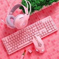 Keyboard Mouse Combos Gaming и наушники с микрофоном Wired Backlit Mechanical Gamer Kit для ноутбука для ПК