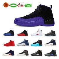 Chaussures de basket-ball de plein air 12 Taxi White Wolf Grey Violet foncé Le maître College College Navy Deep Blue Sports Sneakers Entraîneurs