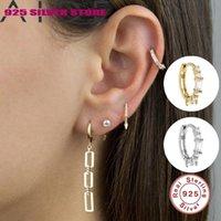 Ayudón 925 Pendientes de plata esterlina Pendientes rectangulares Hand Craft Craft Jewelry Geométrico Color Hoop Pendiente Huggie