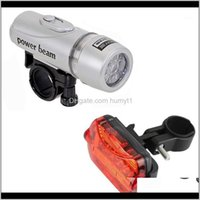 Bicycle Front Head Light+Tail Light Set Cycling Waterproof Highlight Front Light And Butterfly Rear Tail Combination1 Eeq6X Pam7H