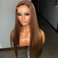 Lace Wigs Golden Brown Silky Straight Glueless Full Remy Human Hair 13x6 Front Wig For Black Women Swiss