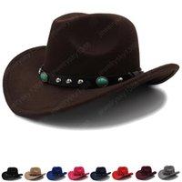 Мужская и женская шерстяная шерстяная федора шляпа осенью зима теплый западный ковбойская шляпа унисекс большие широкие Breim Sunshade Hats