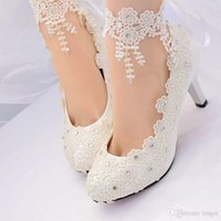 White Flower Lace Wedding Shoes 2018 High Heels Woman Pumps Bridal Shoes Pointed Toe Lace Up Ankle Straps Womens Heels