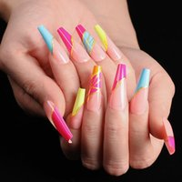 False Nails 24pcs box Fake With Glue Designed Colourful Gold Thread Rainbow Paragraph Press On Coffin Girls Nail Tips Stick-on