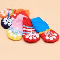 Dog Pet Cat Warm Socks Winter Puppy Creative Soft Cotton Anti-slip Antifreeze Knit Weave Sock Pets Clothes 4 Pcs set Bh2510 Cy