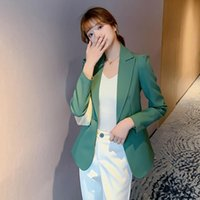 Women's Suits & Blazers Women Autumn Blazer Jacket Fashion Solid Single Button Long Sleeve Work Suit Coat Office Lady Elegant X1644RX