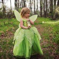 Tinker Bell Cosplay Pageant платье для младенца Tollder 2021 с крылом принцессы рюшами зеленый органза маленькая девочка формальные одежды