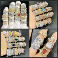 FAHMI 2021 New 24pcs Lot Mix Designs Gemstone Ring Exaggerated Micro Pave Zircon Crystal 18K Real Gold Plated rings Wholesaler