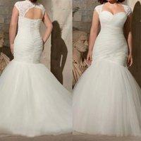 Gorgeous Plus Size Mermaid Wedding Dresses Beach Boho Bridal Gown Lace Applique Sweetheart Neckline Sweep Train Custom Made Plus Size vestido de novia
