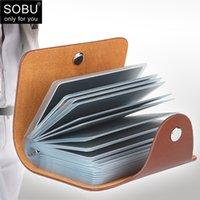 New Bolsa PU Couro 24 Bits Case Case Mulheres Business Bank Cartão Titular Homens Credit Passport Card Bag ID Passaporte Wallet H088