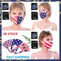 USA Flag Face Mask Ice Silk Breathable Protective Mouth Cover anti dust and haze patriotic outdoor party American First masks