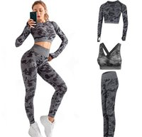 Hohe Qualität Marke Designer Trainingsanzüge Womens Baumwoll Yoga Anzug Langarm Sportwear Fitness Gymshark Sport Drei Stück Set 3 stücke Outfits BH 26