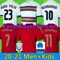Fans Spielerversion Ronaldo Fussball Jersey 20 21 B.Fernandes Joao Felix Diogo J. Ruben Neves Bernardo Football Hemd 2021 R.Sches Rafa Danilo Männer Kinder Kit Uniformen