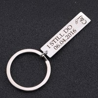 Keychains Personality Customized Date And Name Initial Letter Keychain 40*10mm Key Ring For Lovers Couples Pendant Tag Bag Charm