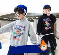 الفتيان الكبار الديناصور إلكتروني مطبوعة البلوز الاطفال عالية الياقة طويلة الأكمام البلوز الخريف الشتاء الأطفال المخملية رشاقته الدافئة الكرتون البلوز Q2581