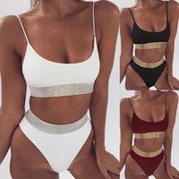 Seksi Yüksek Bel Bölünmüş Mayo Kadın Sequins Katı Bikini