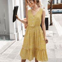 Yaz Kolsuz Ruffles Midi Elbise Tatil Boho Elbiseler Kadın Çiçek Baskılı V Boyun Sundress T2N5 #