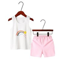 Pigiama Summer Kids Sets Boys Sleepwear Pigiama Pigiama Abito per bambini Bambina Vestiti Piccoli ragazzi senza maniche Girls Pijamas