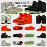 Kanye West x Nike Air Yeezy II NRG Red october Blink Net Tan Zen Grey Men Basketball Shoes Athletics Boots Solar Red October man Running Shoe yeezys yeezzy yezzy Sneakers With box