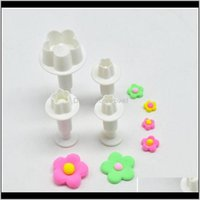 Tools Bakeware Kitchen, Dining Bar Home & Garden Drop Delivery 2021 4Pcs Plum Flower Plunger Mold Cake Decorating Fondant Cookie Cutter Xha41