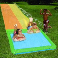 Water Slide Lawn Slides For Children Summer Beach Spray Single Double Surfboard Pool Games Kids Waterslide Toys Inflatable Floats & Tubes