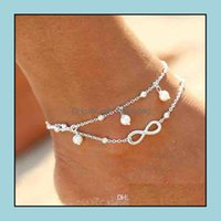 Jewelryvintage Fashion Summer Beach Anklet Bracelet Infinity Jewelry Pearl Bead Gold Sier Anklets Foot Chain For Women Drop Delivery 2021 Ba