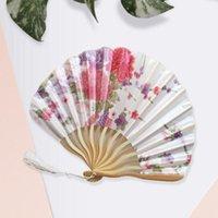 다른 홈 장식 절묘한 사쿠라 손 접는 팬 새틴 실크 모란 껍질 대나무 여름 수동 여성 PO 소품 장식